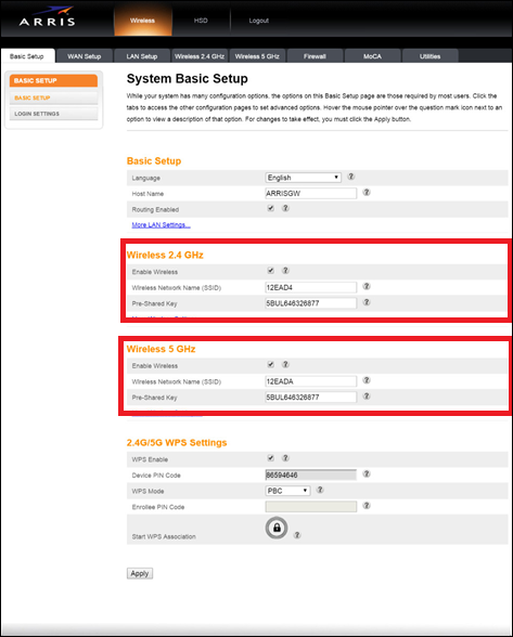 Image of Arris Basic Setup page