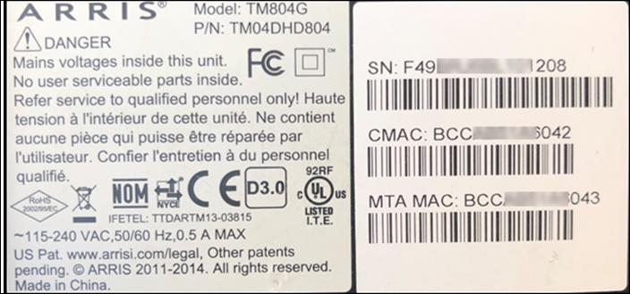 Image of Arris TM804 MAC Address