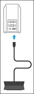 image of plugging battery backup power cord to the modem