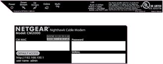Image of Netgear CM2000 modem label