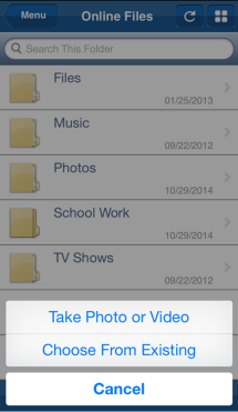 take photo, video or choose from existing
