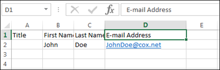 csv file format for email addresses sample