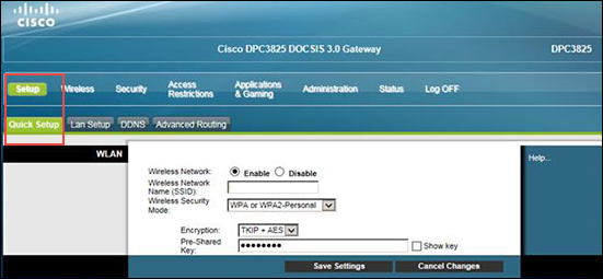 Image of Cisco Setup Tab