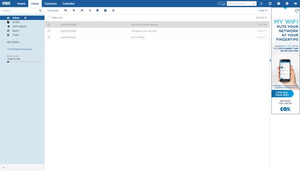 Cox Email Inbox