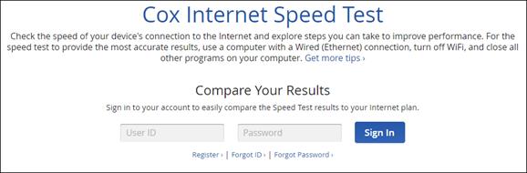 Internet Speed Test Sign In