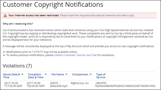 Customer Copyright Notification