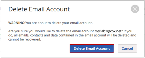 image of the Delete Email Account button