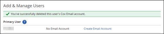 image of the delete Email Success Message