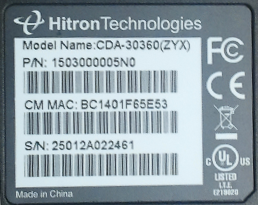 MAC Address on Hitron CDA 30360 modem