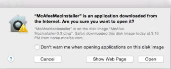 McAfeeMacInstaller window