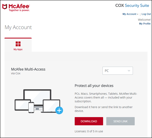 McAfee My Account Portal