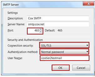 Configuraciones del servidor SMTP