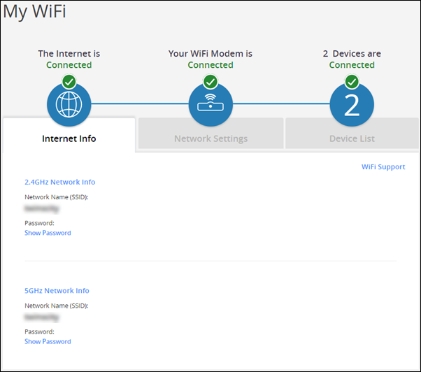 image of the MyWiFi Home Page