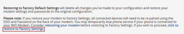 image of the Restore Factory Settings link