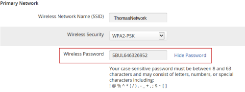 image of the Password field