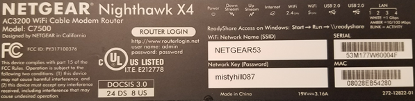 image of the Netgear C7500 MAC Address Label