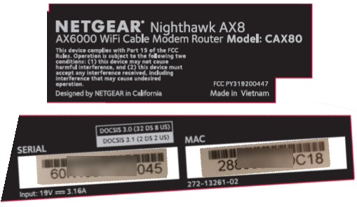 Image of Netgear CAX80 modem MAC label