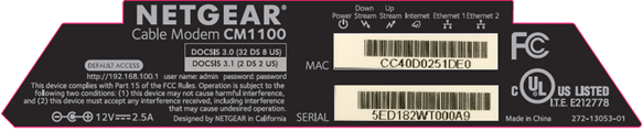 Image of Netgear CM1100 MAC Label