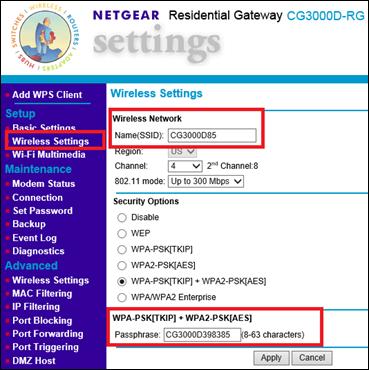 Imagen de la pestaña Netgear Wireless Settings