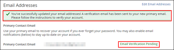 image of the new primary contact email confirmation and note about verification