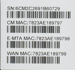 Label showing MAC address