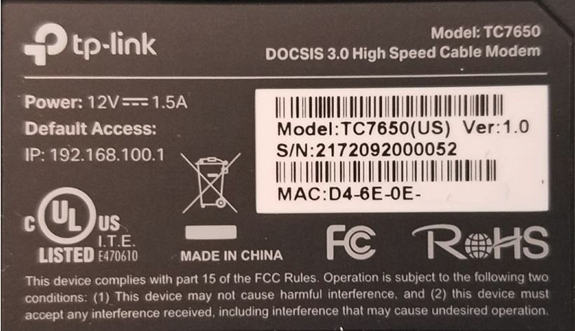 image of the TC7650 MAC Address Label
