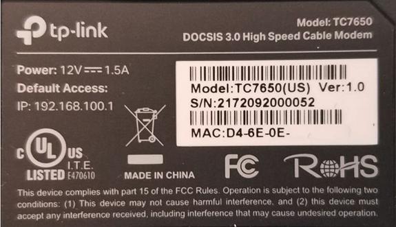 imagen de la etiqueta con la dirección MAC delTC7650