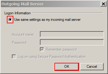 haz clic en same settings as incoming mail server box