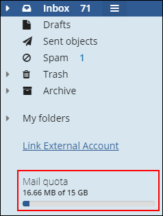 image of the mail quota field