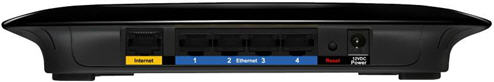 Back view of Linksys WRT160N Router