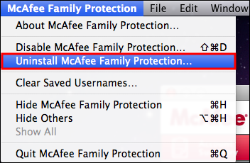 highlights Uninstall McAfee Family Protection