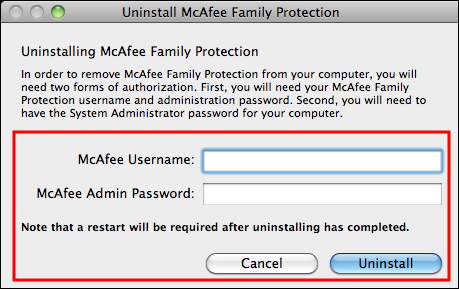 highlights McAfee Username and Password fields
