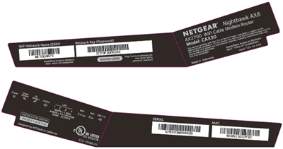 image of the Netgear CAX30 mac address and wifi label