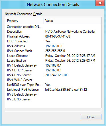 Network connection details window