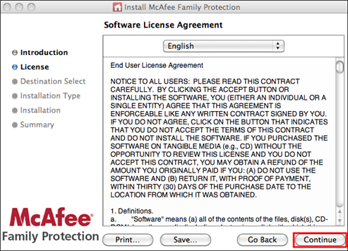 Software License Agreement page
