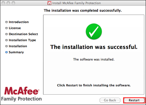 The Installation was successful page, highlights Restart button