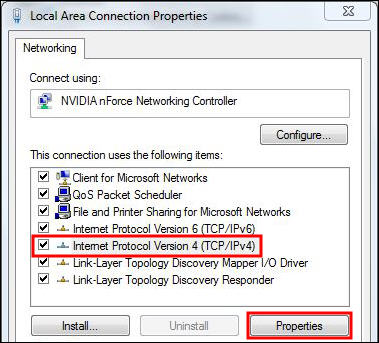 highlights IPv4 option, Properties button