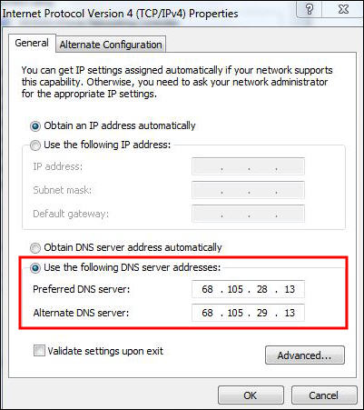 highlights DNS server addresses