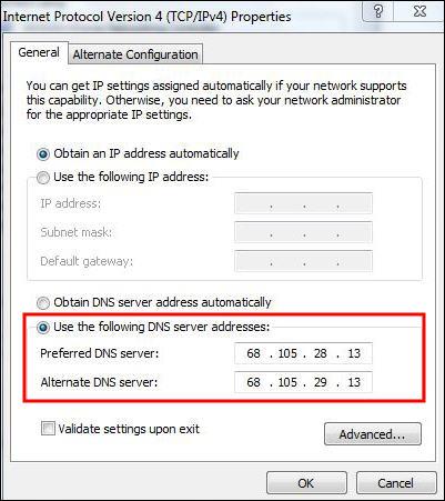 highlights DNS server addresses