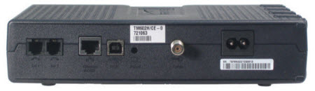 Back View of TM602 modem