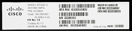 image of MAC address label on DPQ3212 modem