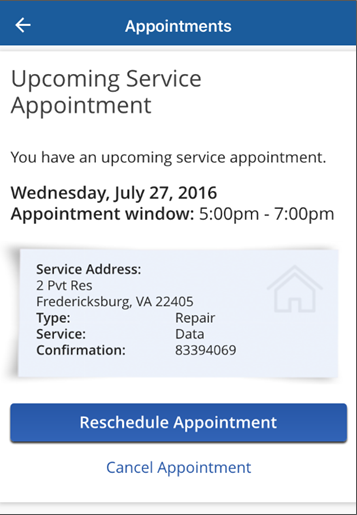 Image of Service Appointment screen