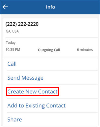 Cox  Connect Phone Info, highlighting Create New Contact