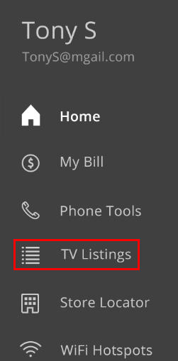 Cox  Connect menu highlighting TV Listings