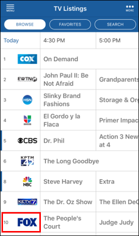Cox channels tv guide.
