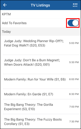 Interruptor Add to Favorites en TV Listings de Cox Connect