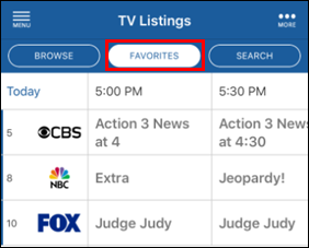 Cox Connect TV Listing Favorites button