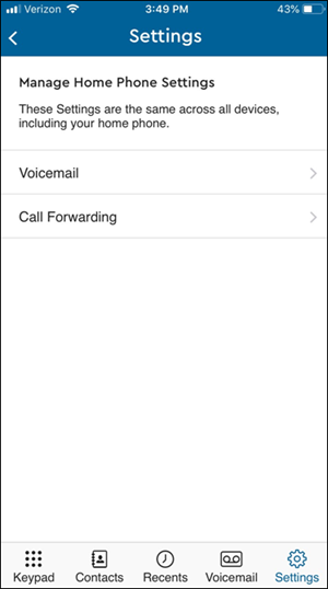 image of Manage Home Phone Settings