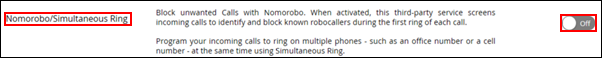 Image of Nomorobo/Simultaneous Ring toggle button