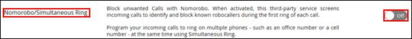 Imagen del botón de selección Nomorobo/Simultaneous Ring
